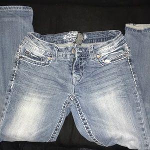 Denim - Women's Ripped Jeweled Jeans